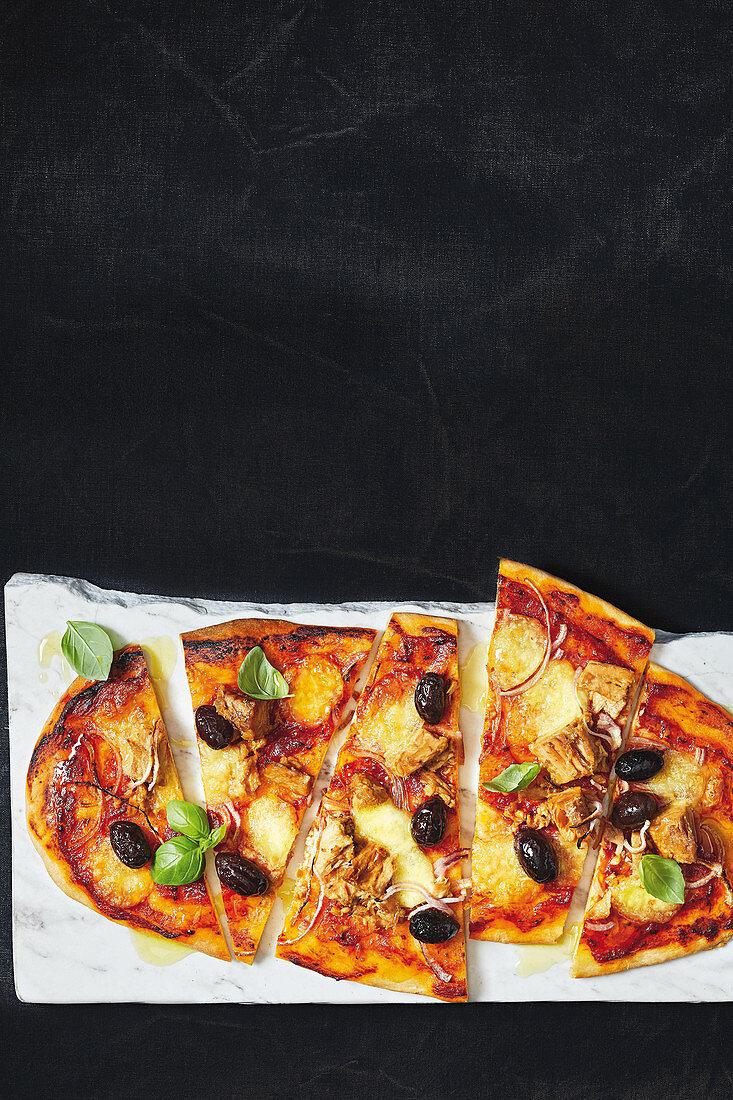 Sicilian tuna fish pizza