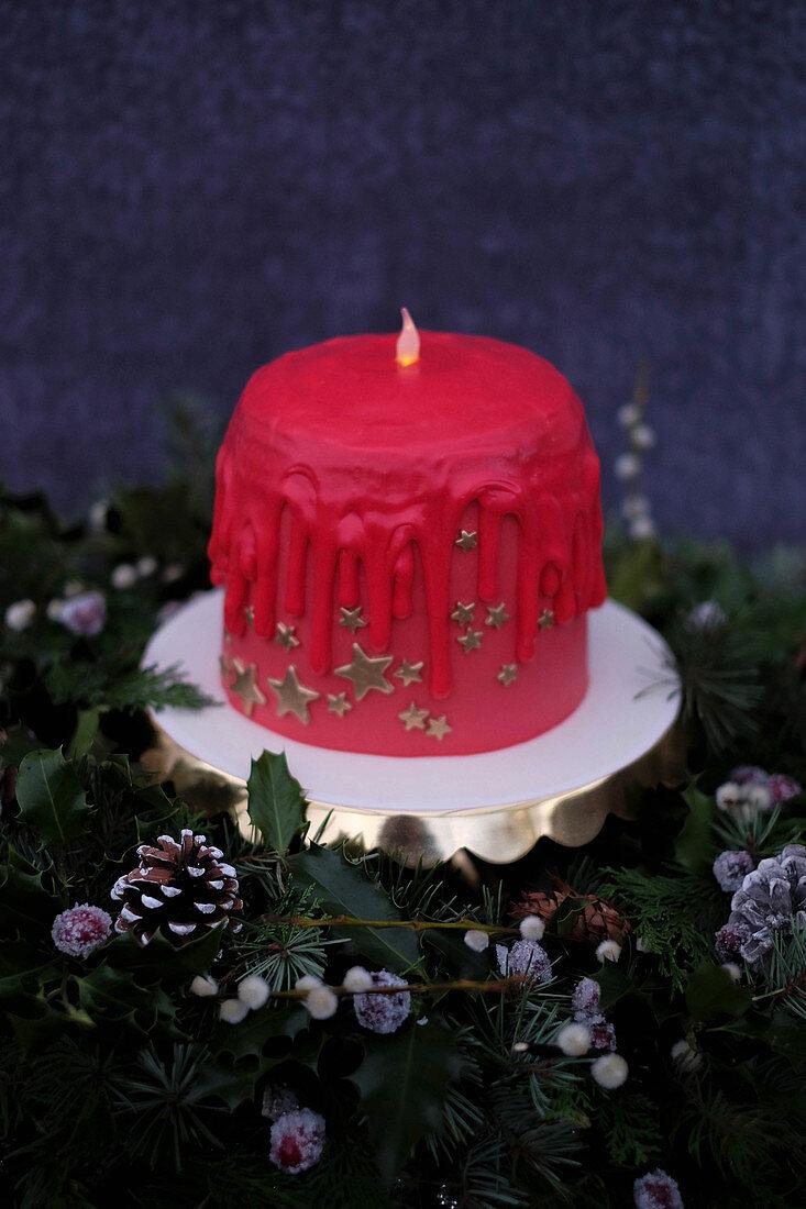 Weihnachtskerzen Drip Cake
