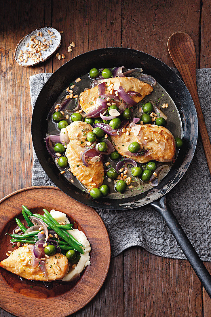 Chicken Agrodolce (sweet and sour chicken) with olives and pine nuts