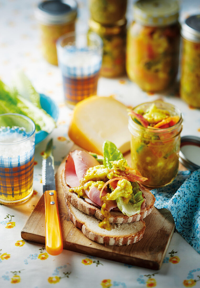 Piccalilli (pickled vegetables) on farmhouse bread