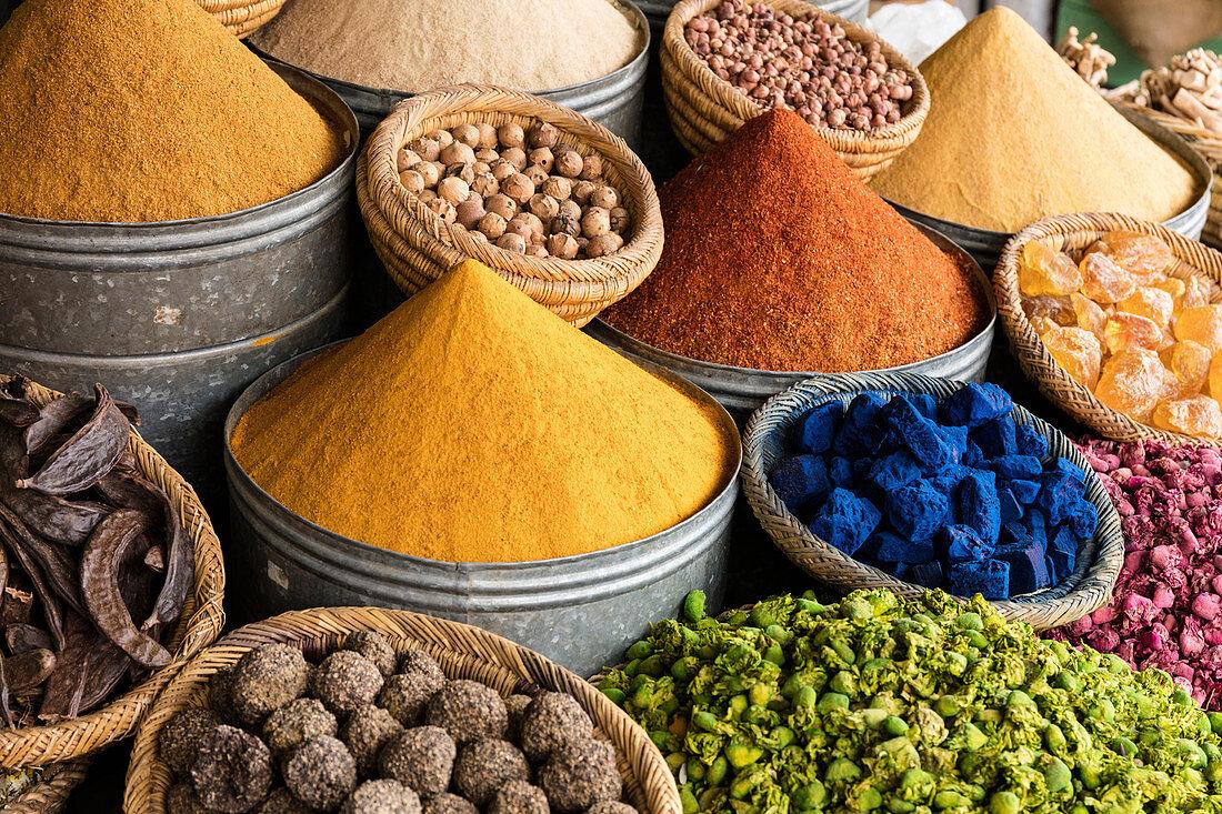 Spices and potpourri at the spice market (souks, Rahba Kedima Square), Marrakesh, Morocco