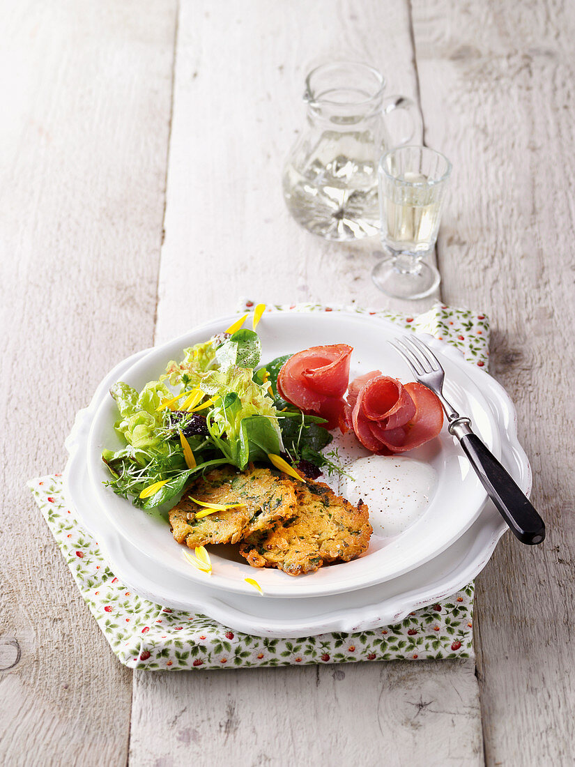 Herb potato fritters with turkey ham