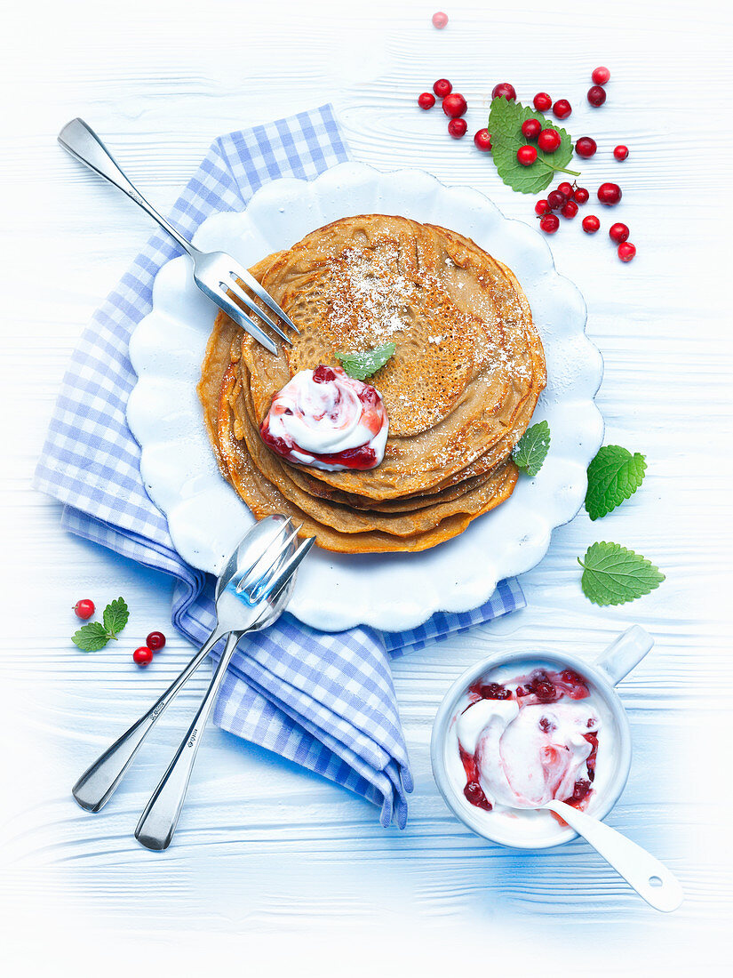 Buckwheat pancakes with cranberry quark