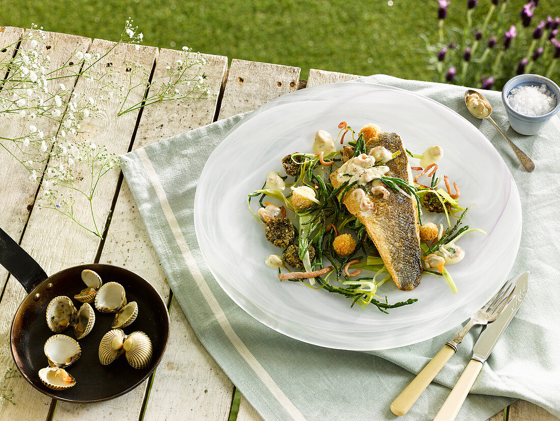 Seafood and fish with a seaweed salad