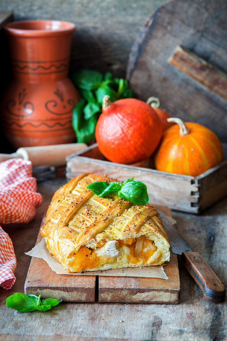 A chicken and pumpkin yeast strudel