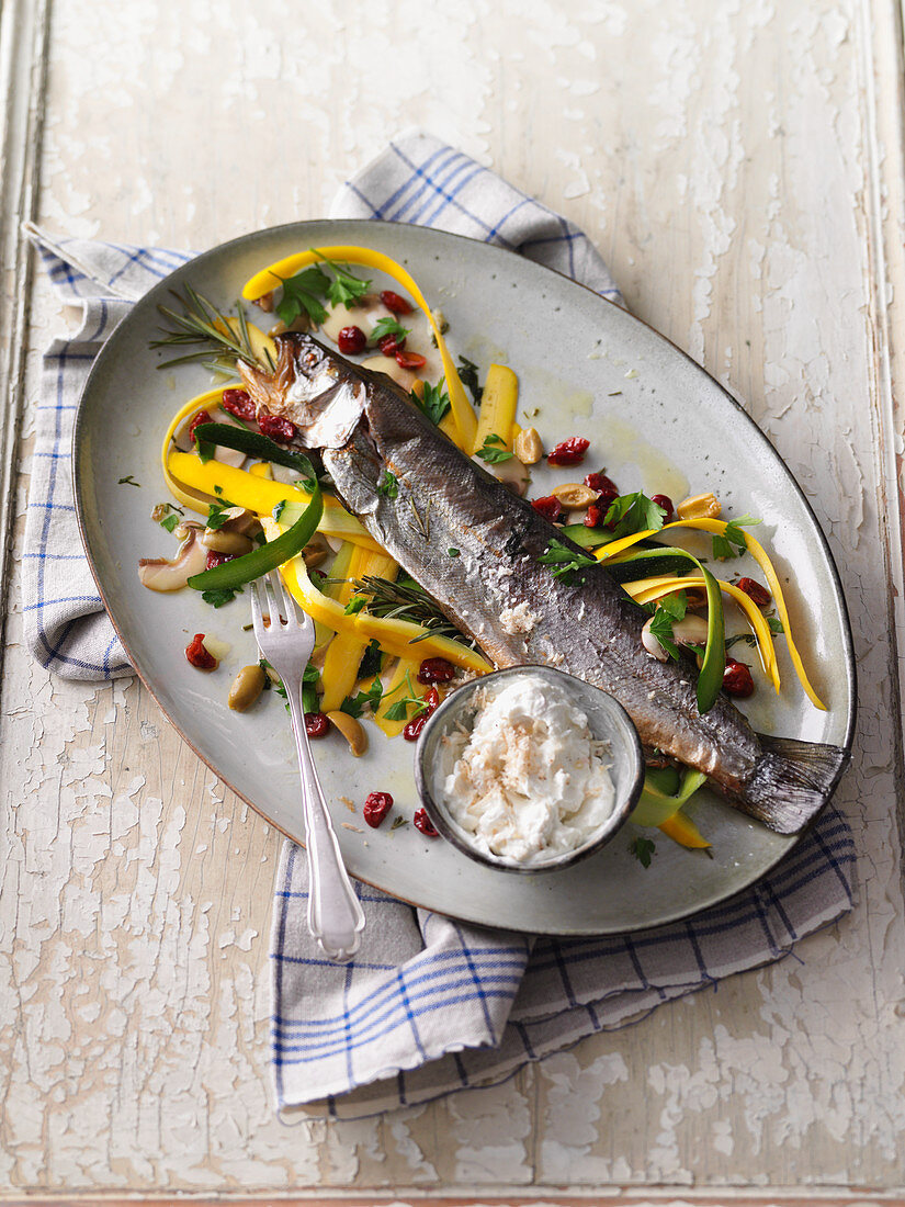 Smoked trout with a courgette medley and a horseradish dip
