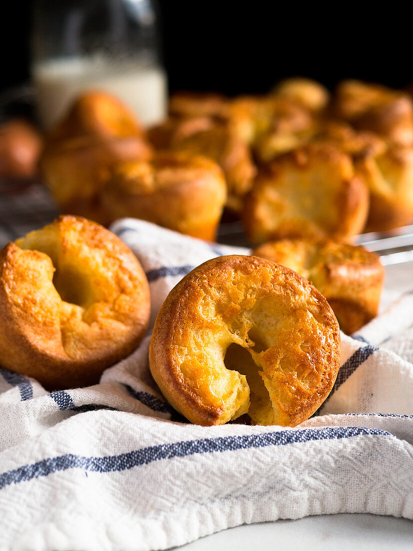 Yorkshire puddings on striped cloth