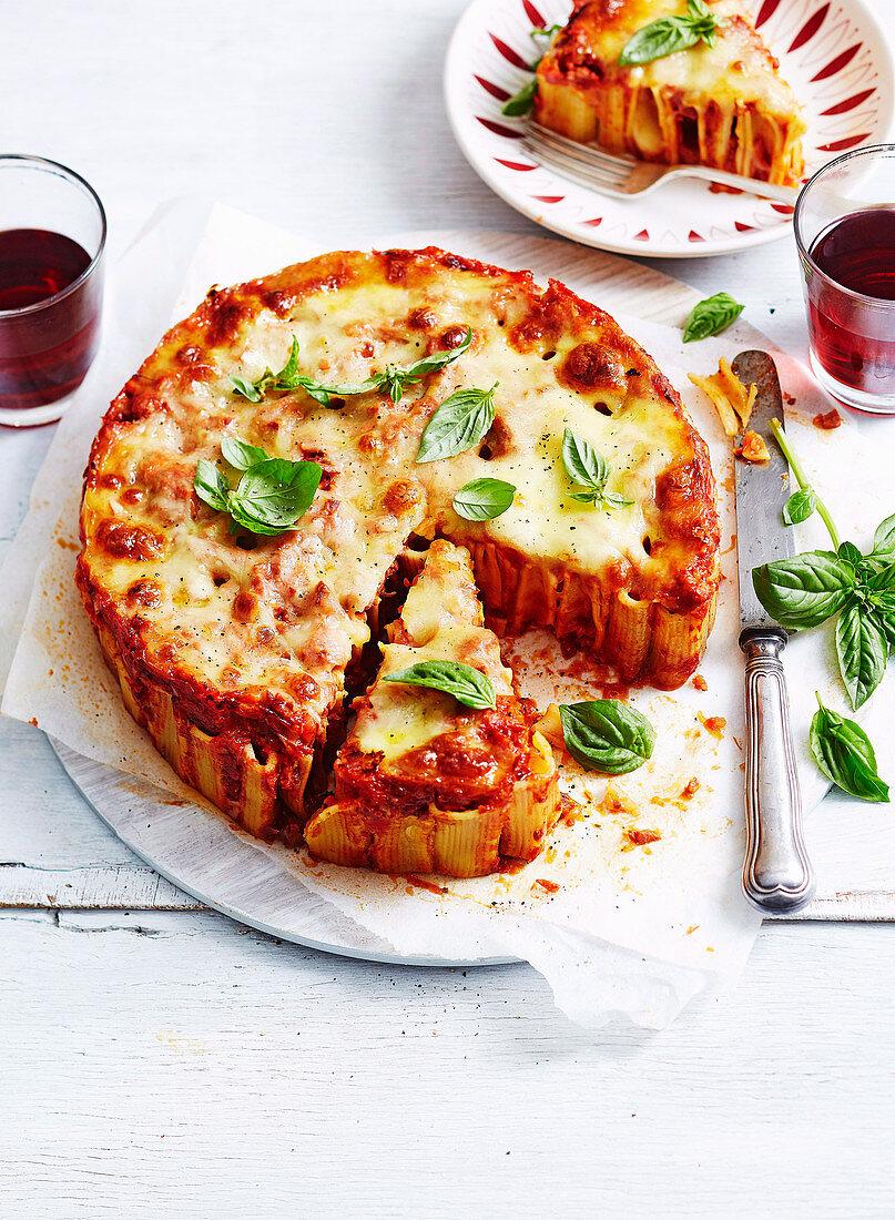 Spicy Chorizo Pizza Rigatoni Cake