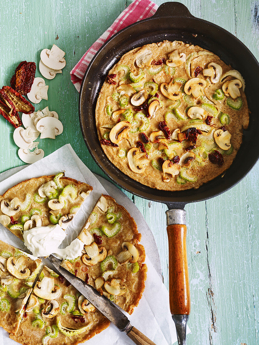 Soya pancakes with mushrooms and celery