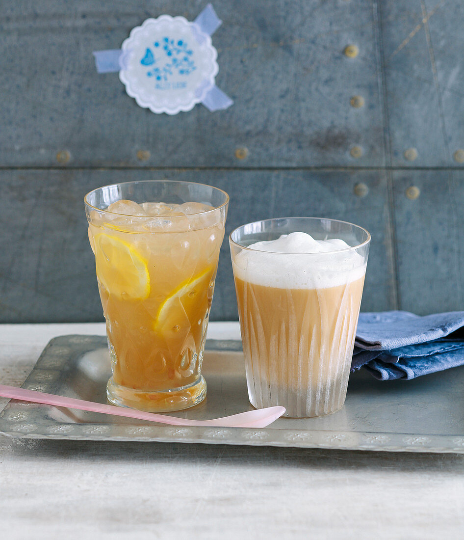Grapefruit and lemon iced tea, and a rooibos latte