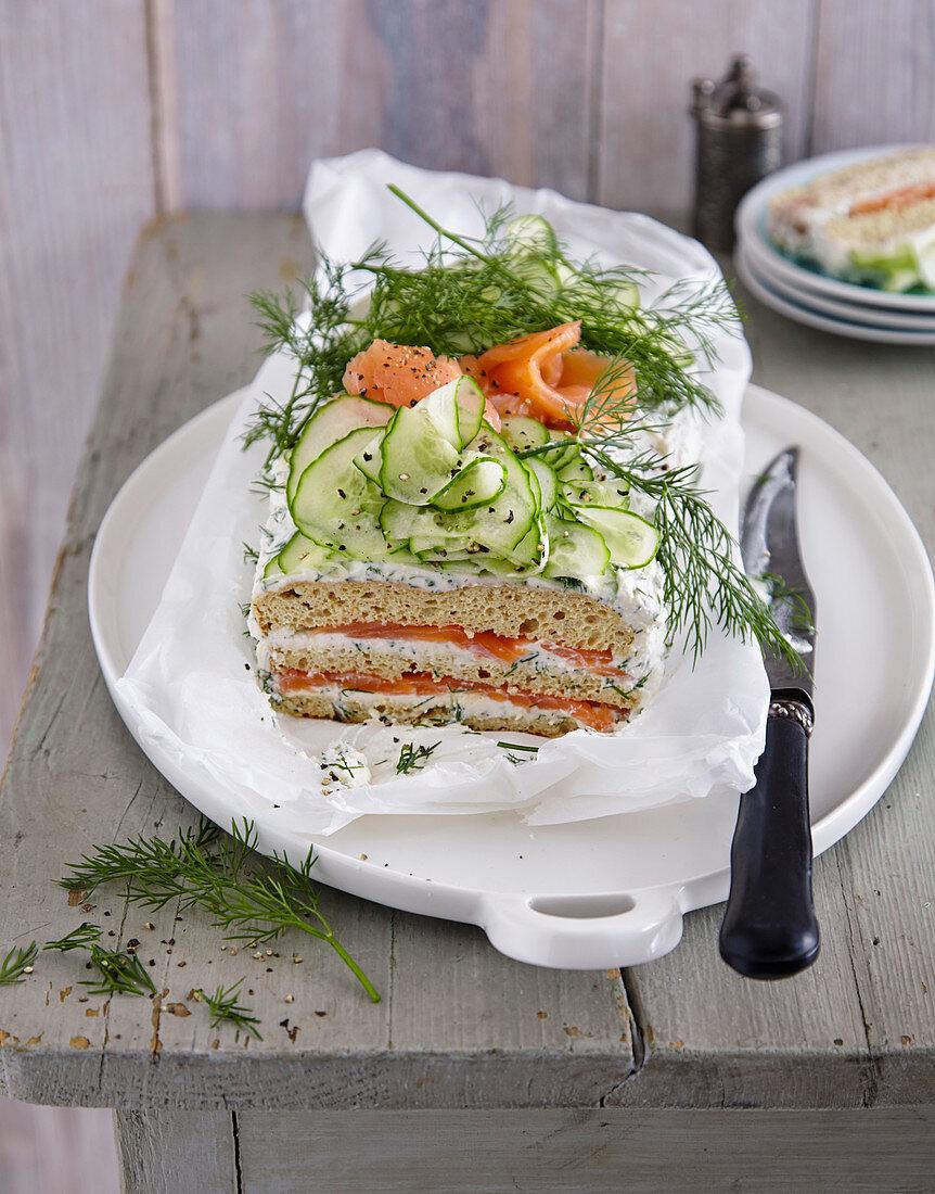 Smoergaestaerta (Swedish bread cake with smoked salmon, cream cheese and cucumber)
