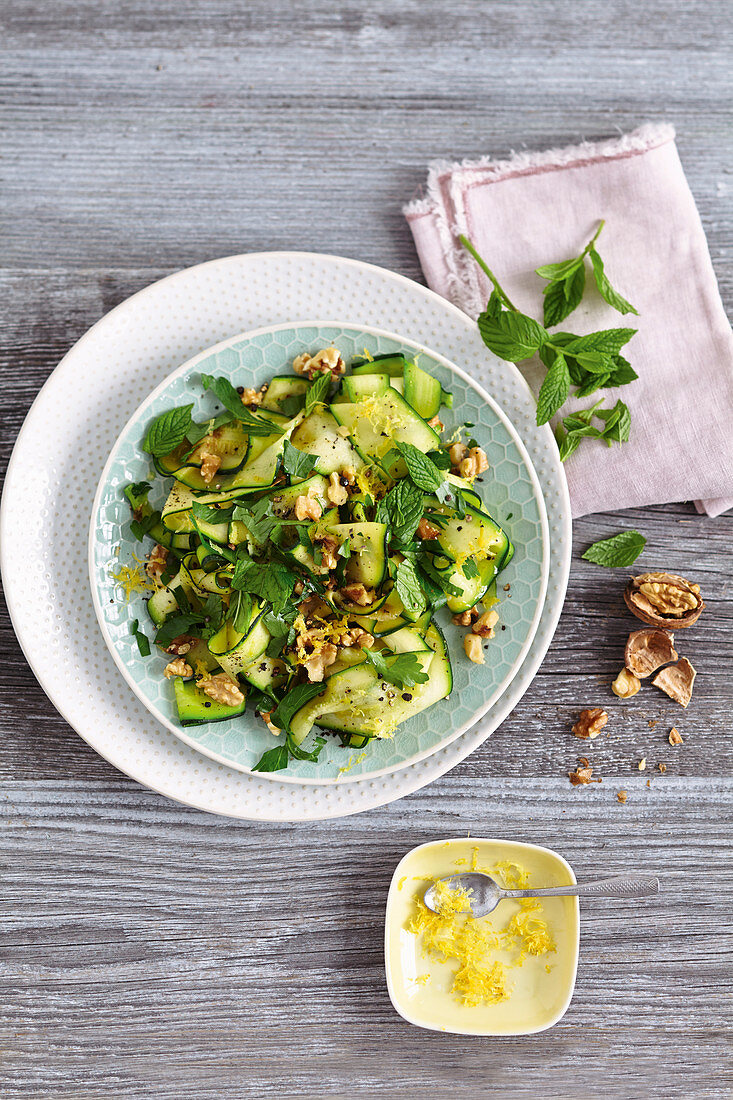Courgette salad with herbs and walnuts