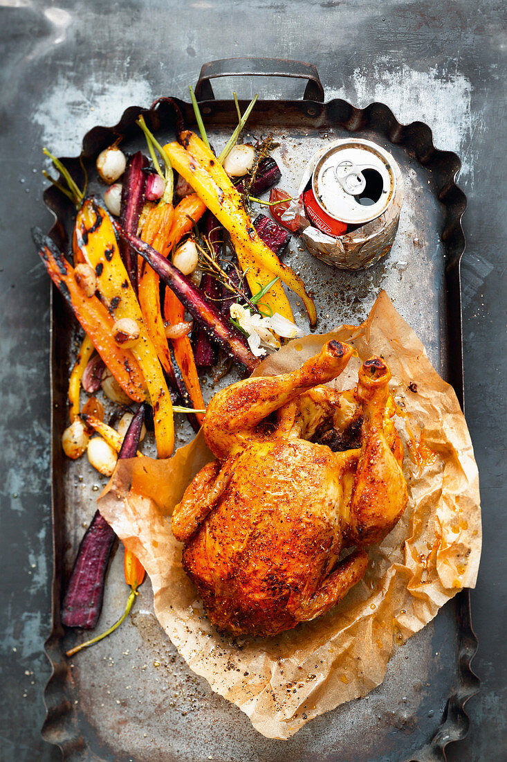 Grilled whisky can chicken with colourful carrots