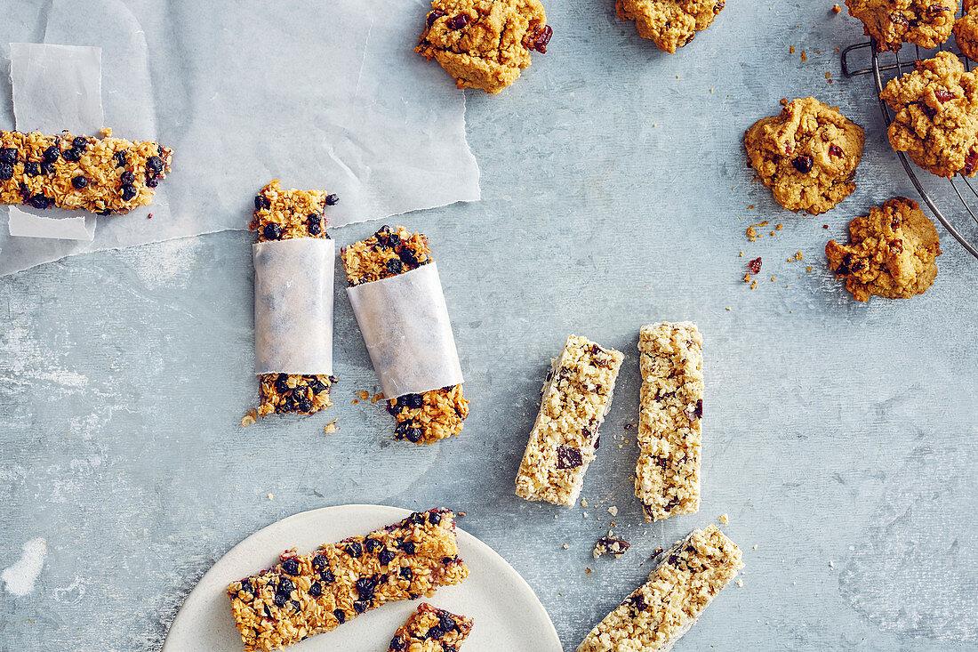 Muesli bars, peanut butter cookies, and quinoa and chocolate bars