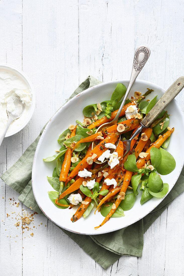 Allspice carrots with ricotta on purslane