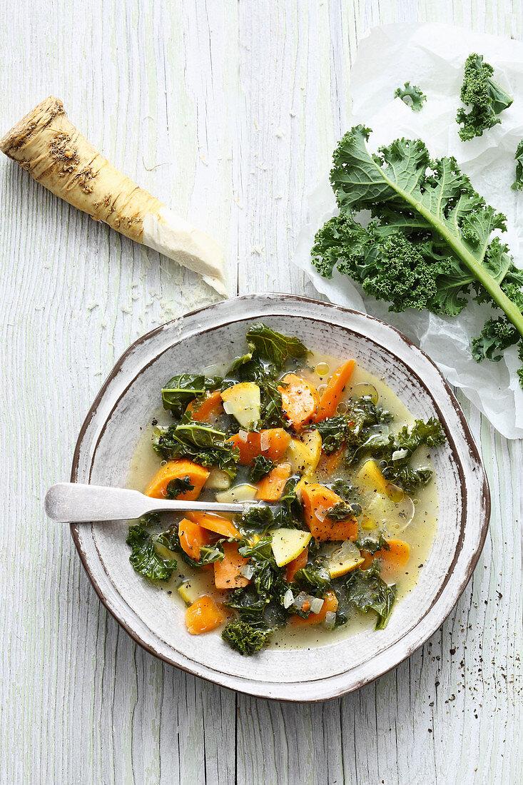 Vegan sweet potato stew with kale