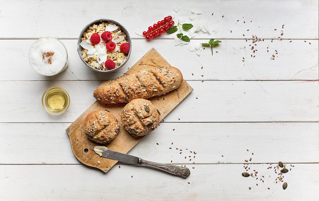 Multi-grain rolls and muesli