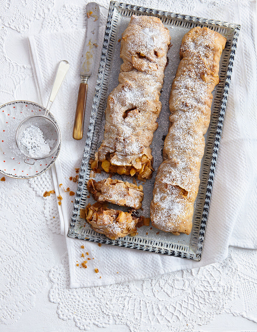 Wholemeal apple strudel with cranberries and nuts