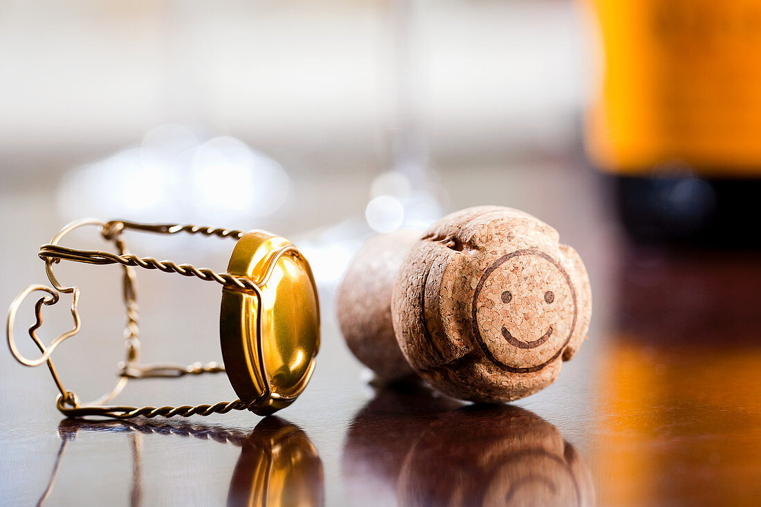 Champagne cork with happy face