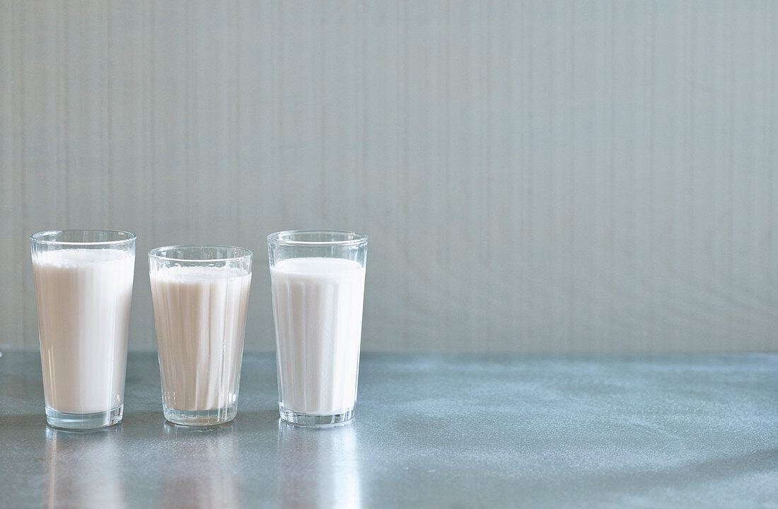 Milk substitutes – cashew drink, coconut drink and almond drink
