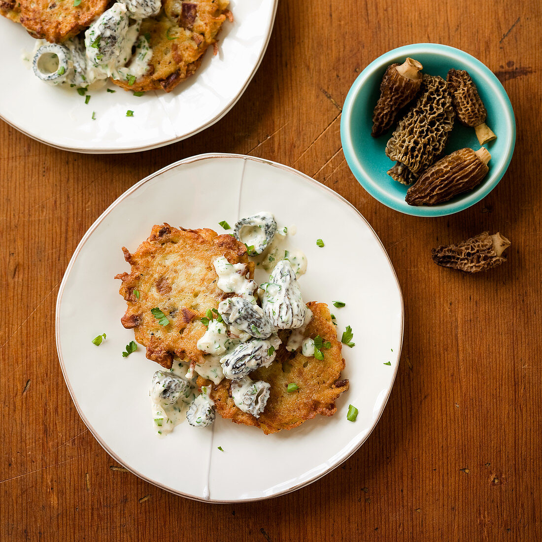 Creamed Morel Mushrooms witih Potato and Chanterelle Mushroom Latkes