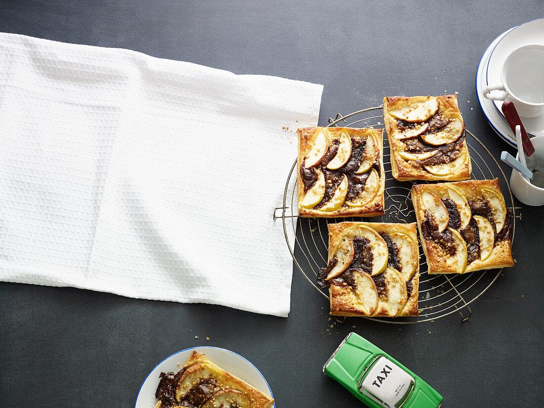 Apple and nougat tartlets with hazelnut brittle