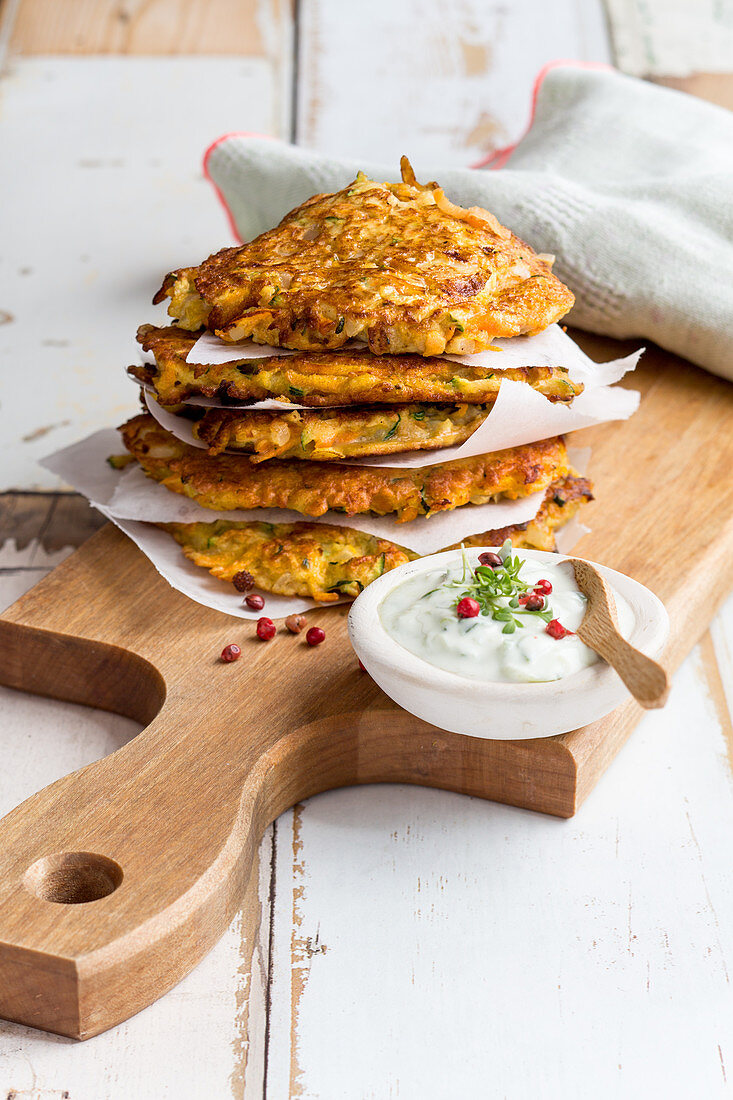 Courgette and carrot fritters with tzatziki