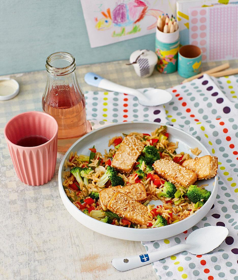 One pot broccoli and rice with sesame seed tofu