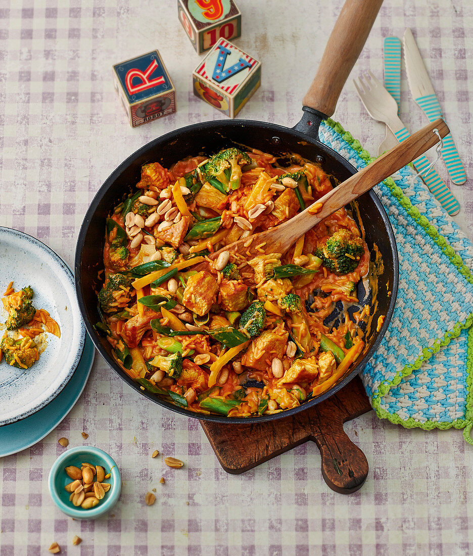 One pan curry with turkey and rice