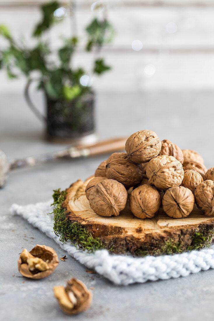 Walnuts on a wooden board
