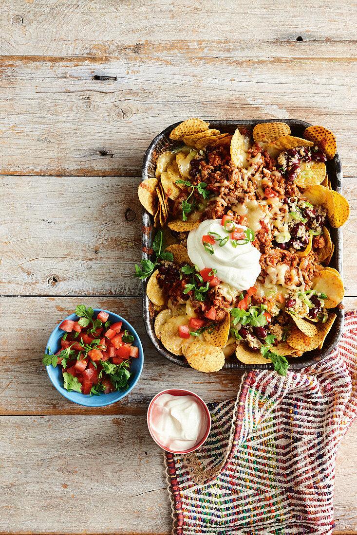 Chilli beef and cauliflower rice nachos