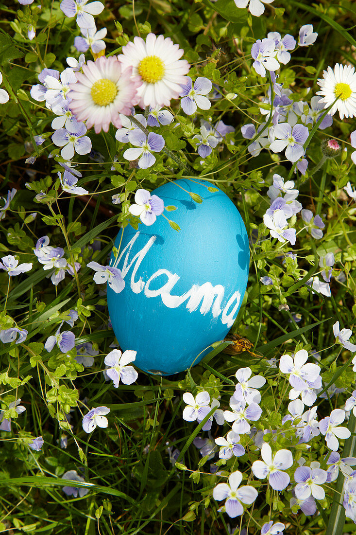 Blue egg painted with chalkboard paint and labelled with 'Mama' lying on spring lawn