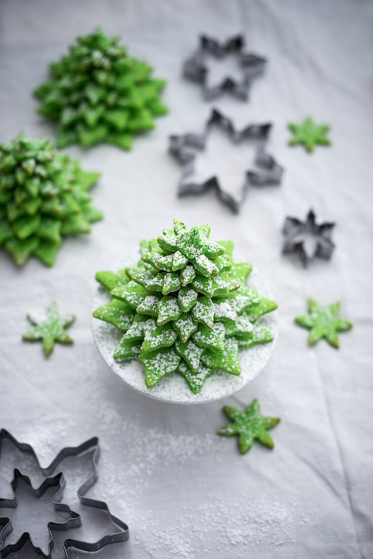 Matcha biscuit Christmas trees (vegan) with cookie cutters