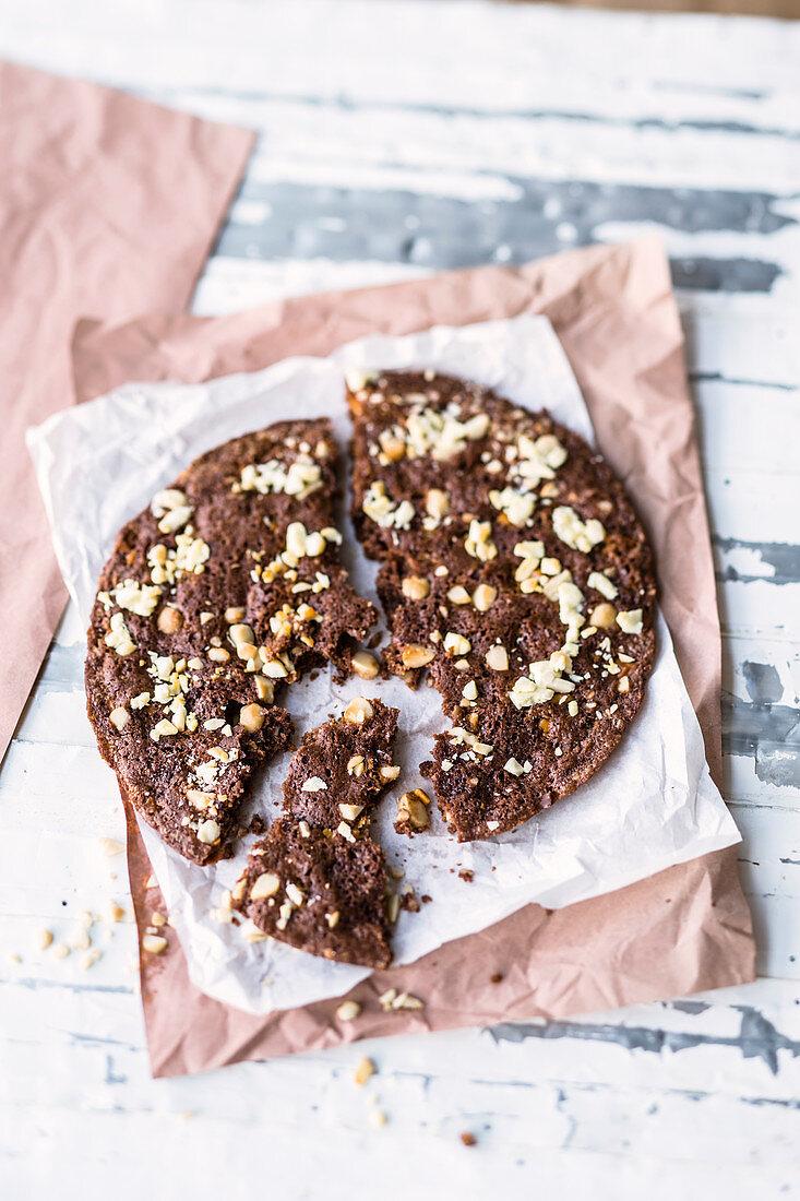 Pan-baked macadamia nut and white chocolate cookie cake
