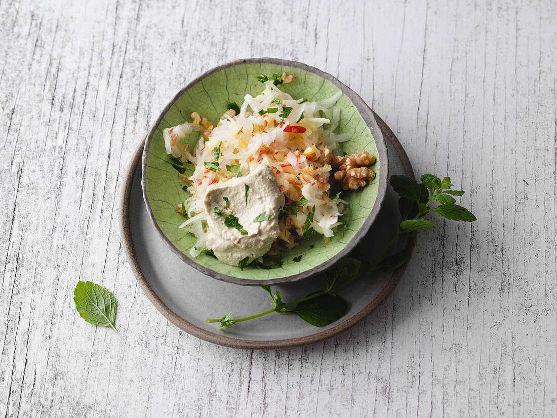 Vegan kohlrabi and apple salad with silken tofu