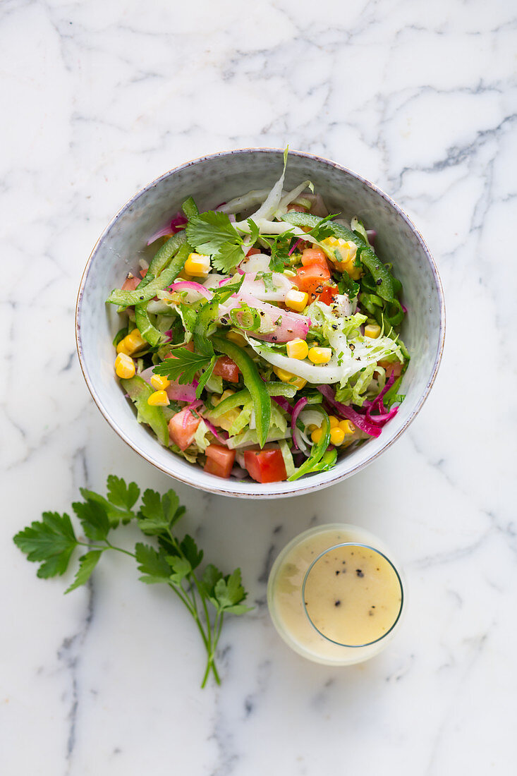 Vegan Chinese salad with pepper, sweetcorn and coriander