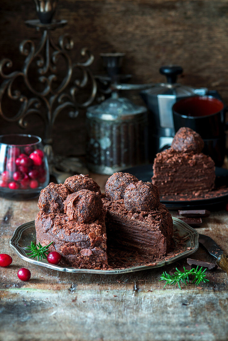 Chocolate Napoleon cake, sliced