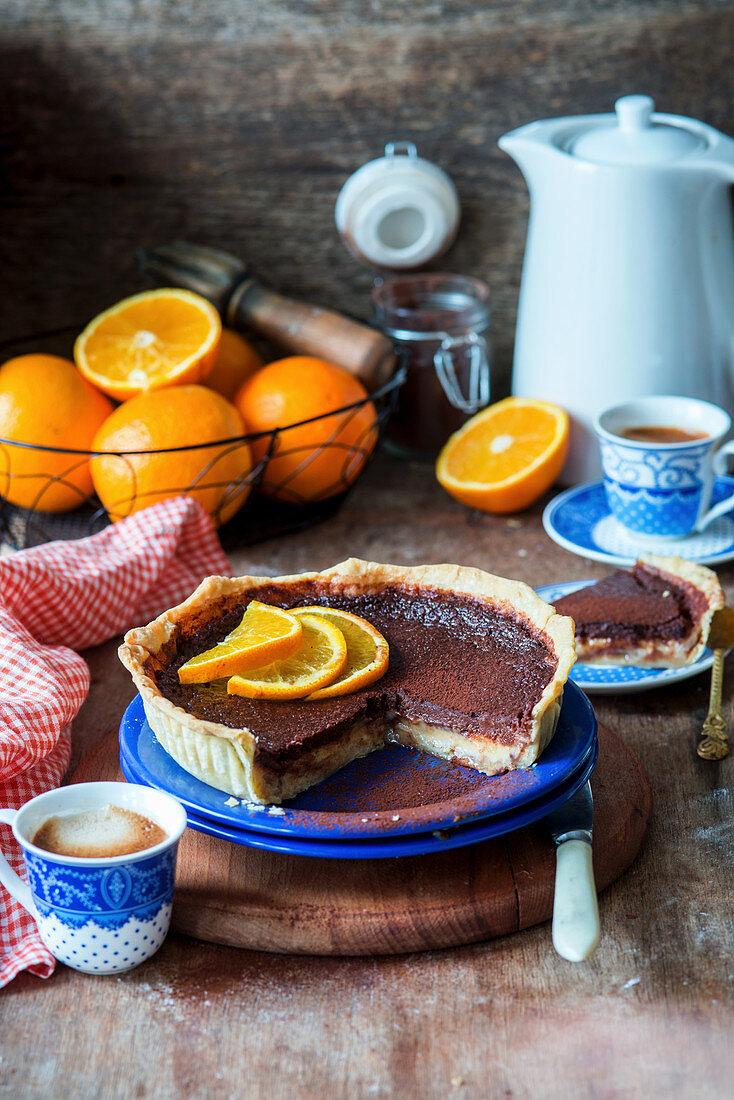 Chocolate and orange tart, sliced