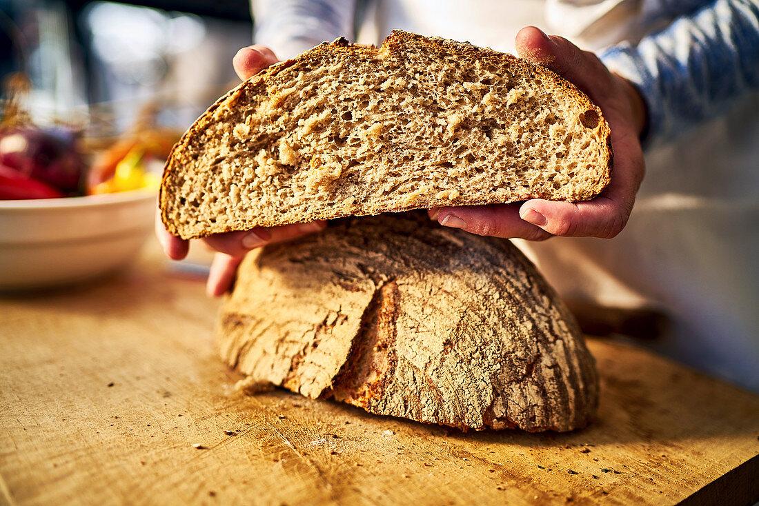 Halved loaves of crusty Fürstätt bread