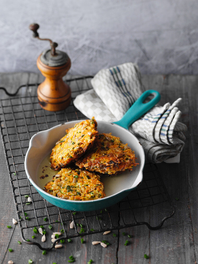 Carrot and courgette fritters with sunflower seeds