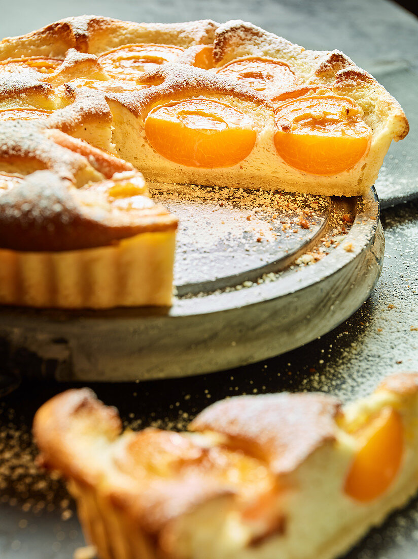 An apricot and sour cream cake