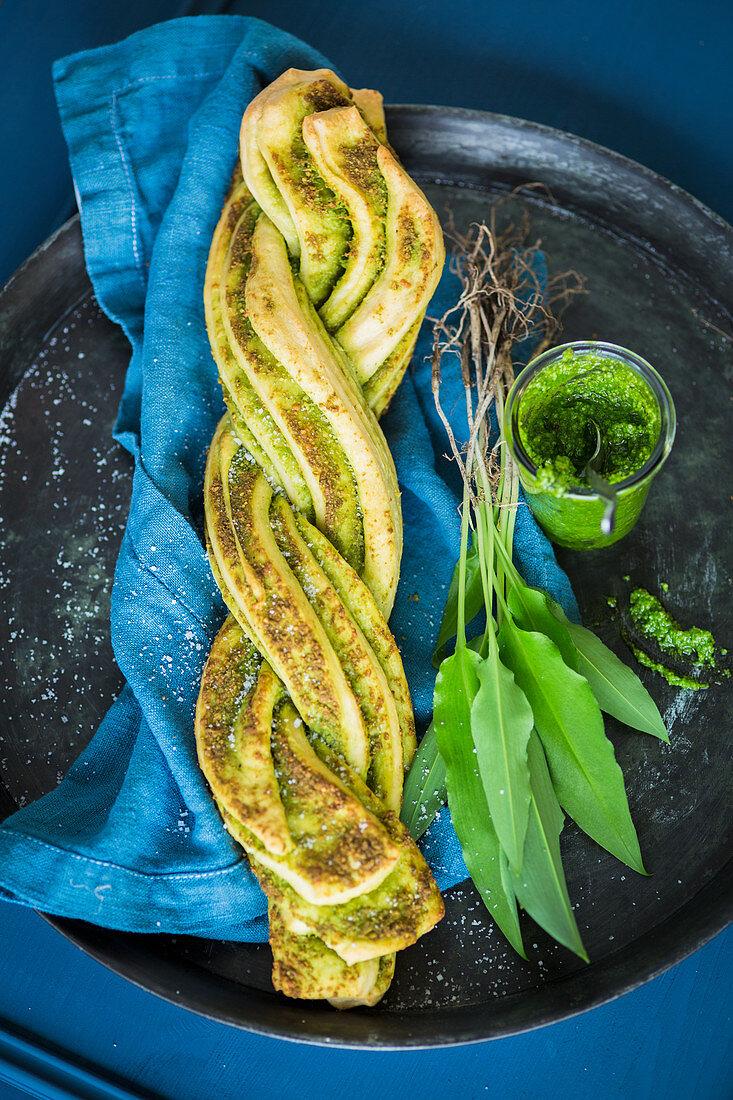 A bread plait with wild garlic