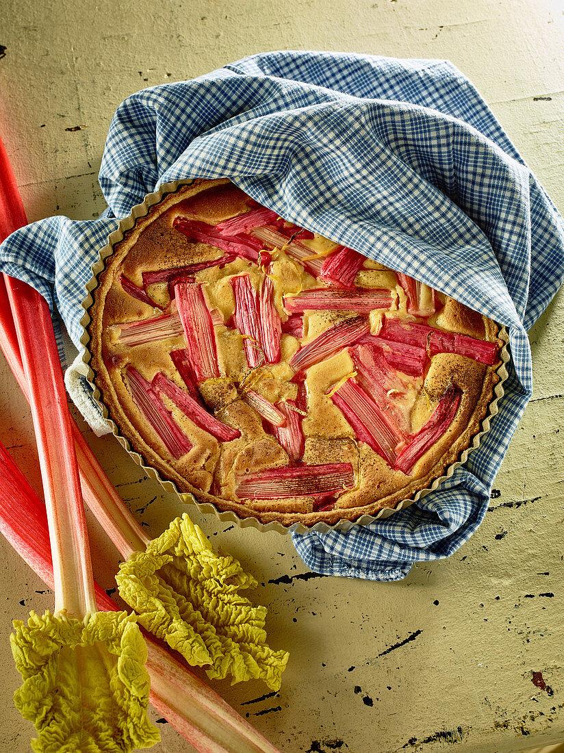 A rhubarb and frangipane tart