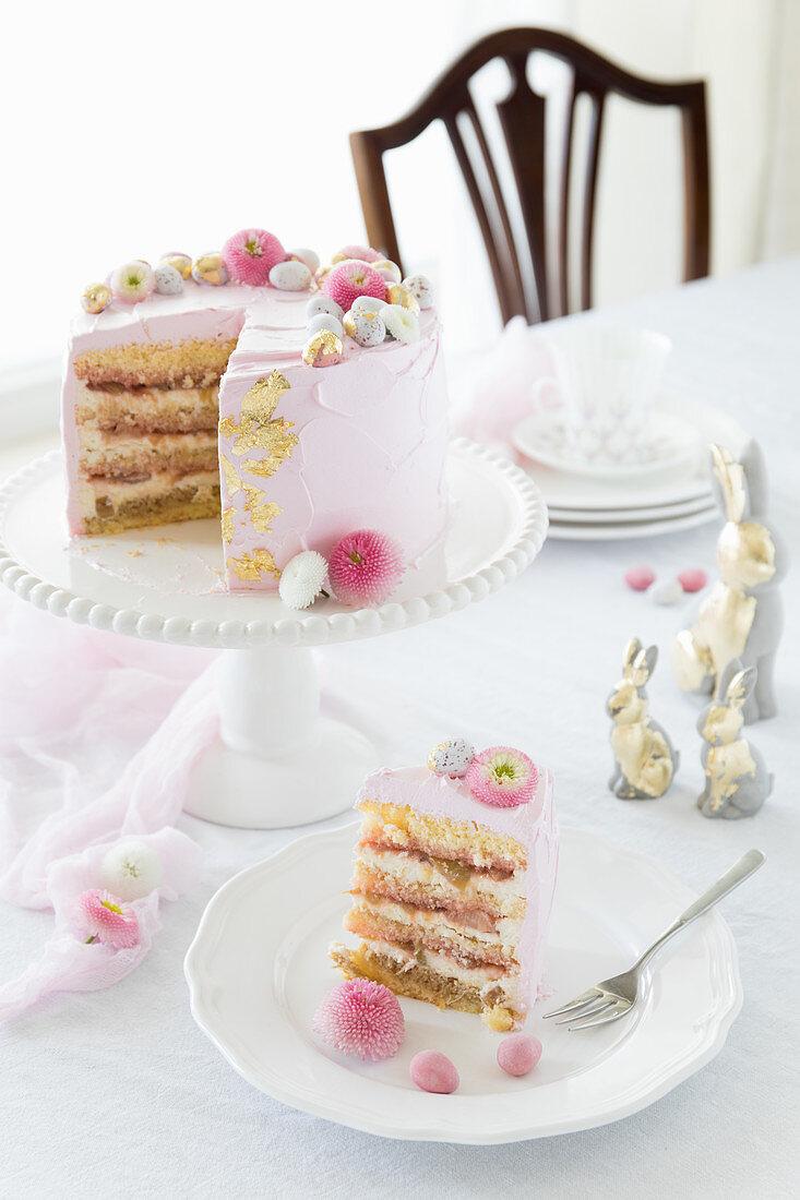 Rhubarb and tiramisu cake for Easter