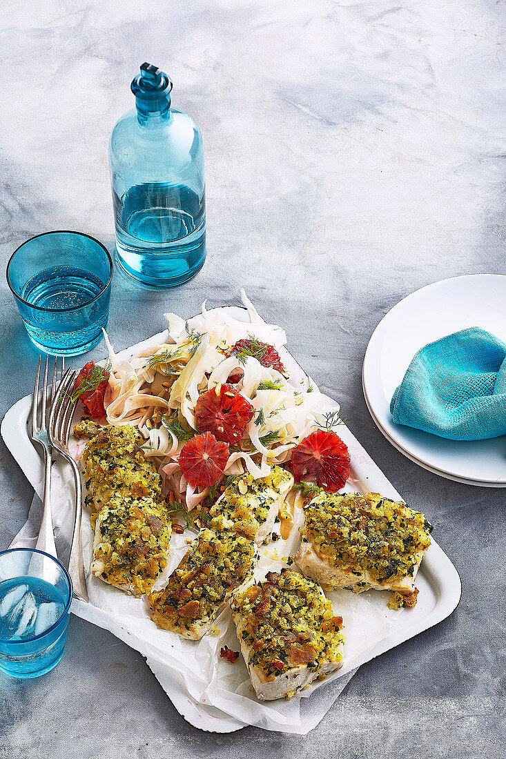 Blood Orange and Fennel Salad with herb crumbed fish