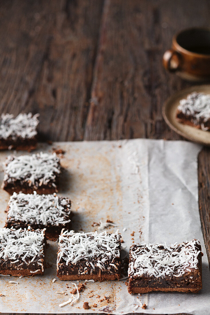 Tim Tamington slices: sheet cake made from Tim Tam chocolate biscuits