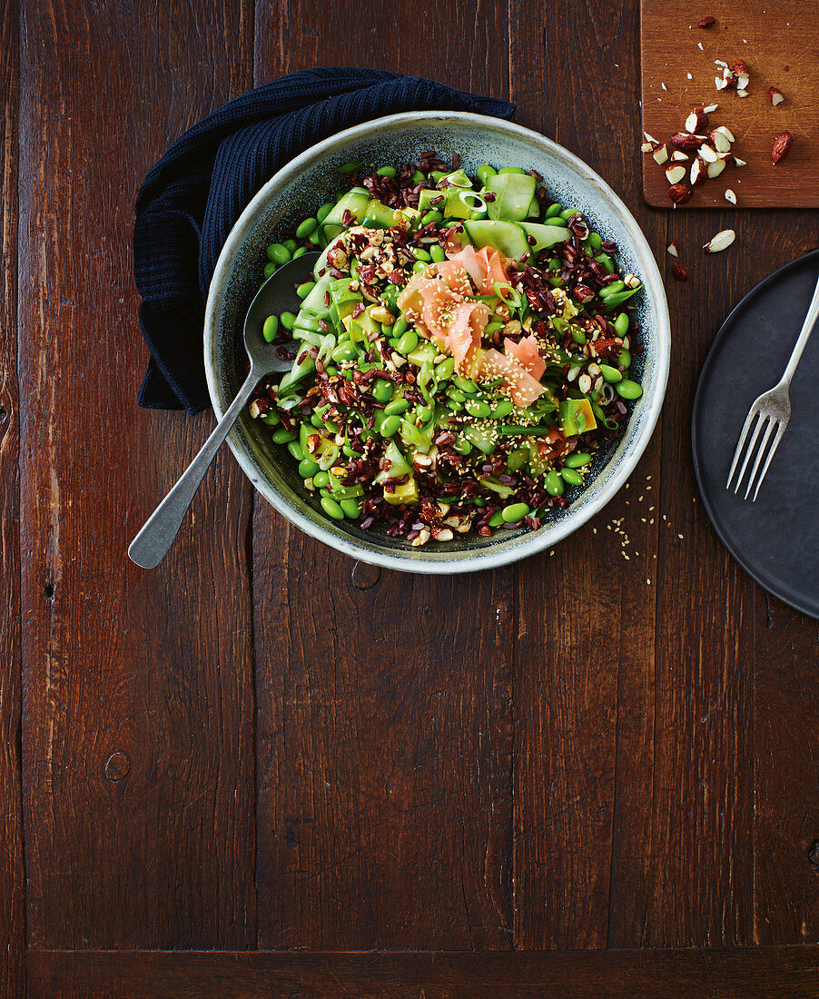 Black rice and edamame salad with crunchy wasabi almonds