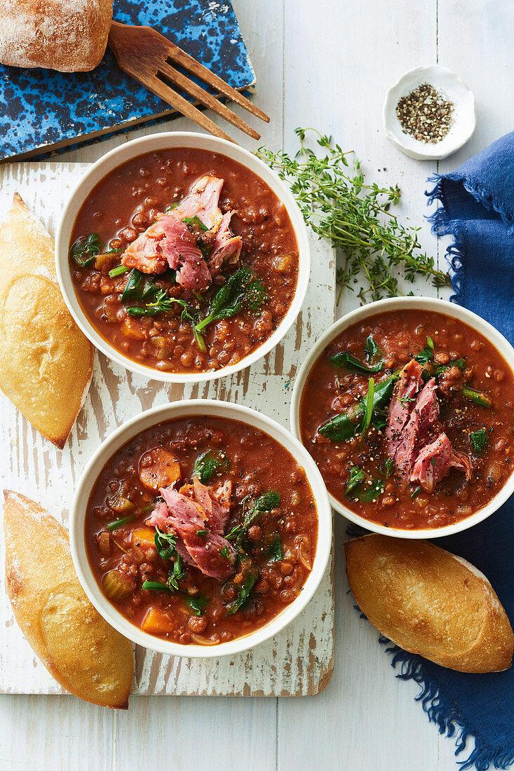 Ham and lentil slow cooker soup