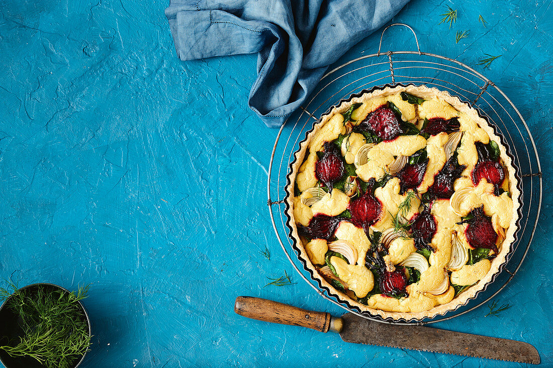 Dairy and egg-free balsamic and beetroot quiche
