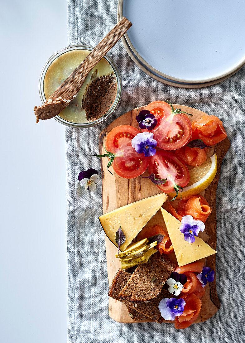 A Scandinavian breakfast with homemade chicken liver pate